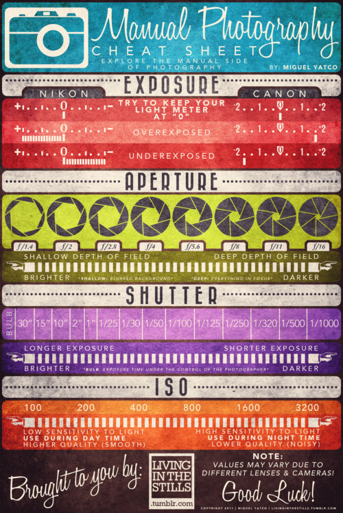 Manual Photography Cheat Sheet (via laughingsquid)