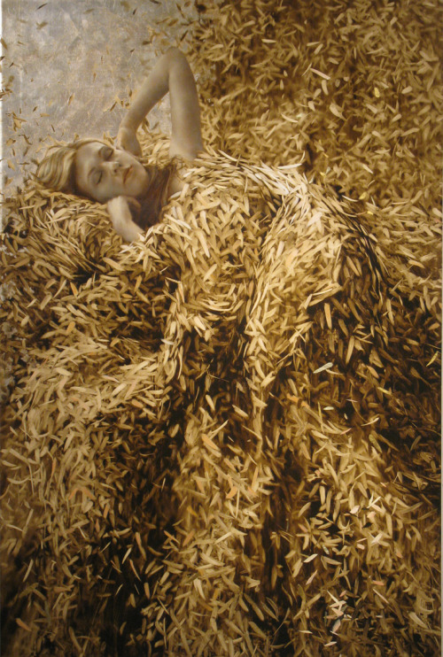 "Brad Kunkle, ""Sixth Sleep,"" Oil, Gold and Silver Leaf on Canvas, 47"" x 21"""