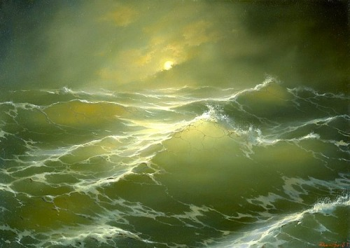 andrewharlow:  The Moon and Waves by George Dmitriev   I would like dedicate this to Jacques-Yves Cousteau.  Today would have been his 101st birthday!  He was the Captain of our waves! #Cousteau
