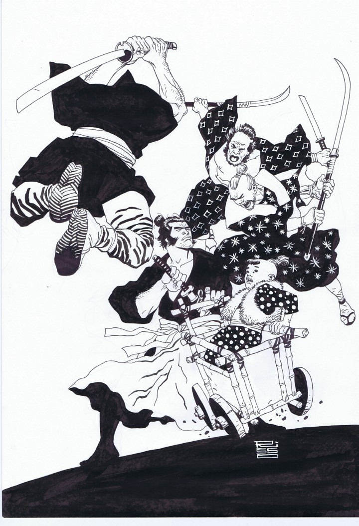 Lone Wolf and Cub  illustration by Eduardo Risso :: via comicartfans.com