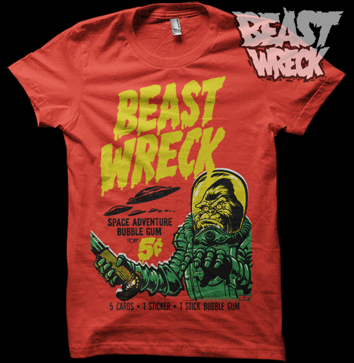 BEASTWRECK ATTACKS shirt mockup option #3: red on red. Who likes it?  Once we decide on a color scheme/shirt color combo, we'll get these things printed and available at the BeastWreck shop.