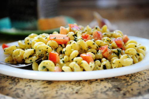 Pasta with Pesto Cream Sauce by the PW!  I absolutely love cavatappi pasta so naturally when I saw this recipe I went nuts!
