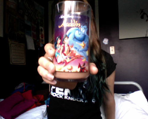 Drinking chocolate milk out of my Aladdin cup and catching up on the Shaytards, because its Saturday night and I do what I want.