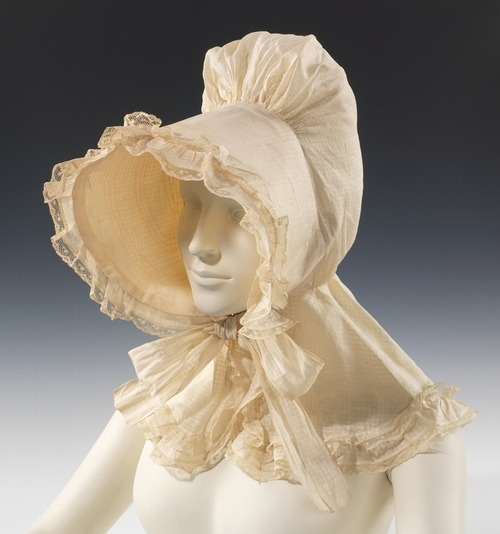 yeoldefashion:  A circa 1835 cotton sunbonnet of American origin.