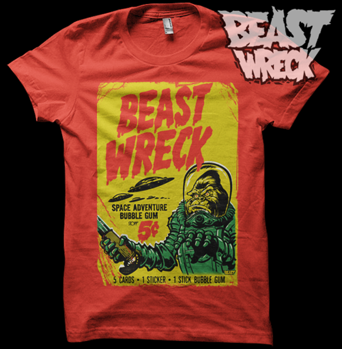 BEASTWRECK ATTACKS shirt mockup option #4: yellow on red. Who likes it?  Once we decide on a color scheme/shirt color combo, we'll get these things printed and available at the BeastWreck shop.