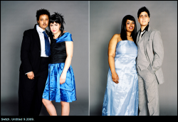 "genderqueer:  This photo series by JJ Levine, Switch, is amazing. Several pairs of people pose as a couple, one dressed ""masculine"" and the other ""feminine"", and then they switch outfits. Some persons are hardly recognizable from one picture to the next. (via Recommendation: Switch — Genderfork)"