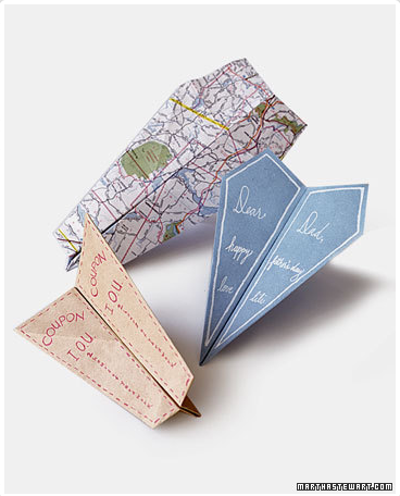 Father's Day card Idea: Using a light-weight map, patterned paper, or homemade coupon, send off some pro-Dad greetings with this Paper Airplane card template from Martha. (via)