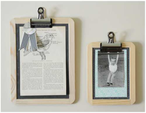 Father's Day gift idea: super easy, less than 5-minute DIY Chalkboard Frame by Creature Comforts. All it takes is a cheap chalkboard, a clip & a photo. Spruce it up with paper or a sharpie poster paint pen. The possibilities are endless! (via)