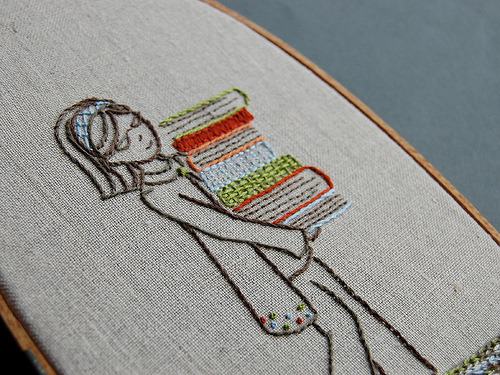 cajunmama:  Girl with books embroidery pattern (by septemberhouse) is that you?
