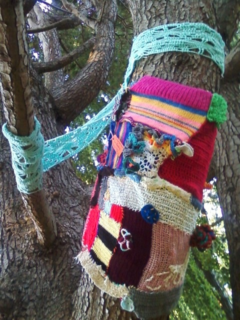 My best yarn bomb yet! Tree wrap!Happy International yarn bombing day!