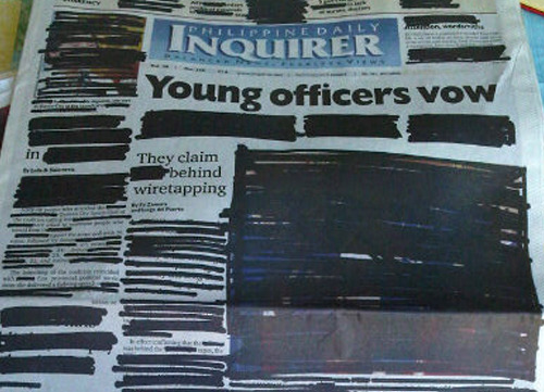 pinoytumblr:  Today's Inquirer comes with a defaced mock page, reminding us Filipinos the value of our freedom; in this case, the freedom to information and of expression. We hope we use them wisely. Happy Independence Day. (Image from Sandra Aguinaldo)