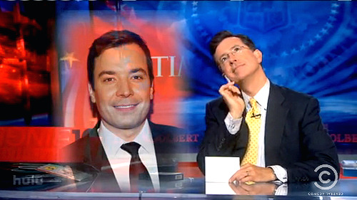 thankyoujimmyfallon:  Stephen Colbert's personal Thank You Note to Jimmy Fallon: Thank you, Jimmy Fallon, for appropriating my own face to boost your emmy chances. I don't know why you'd need to. After all, segments in which audience members lick trombones for ten dollars scream broadcasts excellence. May riding my coattails in your screener bring you an Emmy as surely as riding Queen Latifah's coattails in Taxi brought you an Oscar. Love, Stephen: your best friend until September 3rd… after that, it is go time, motherfucker.