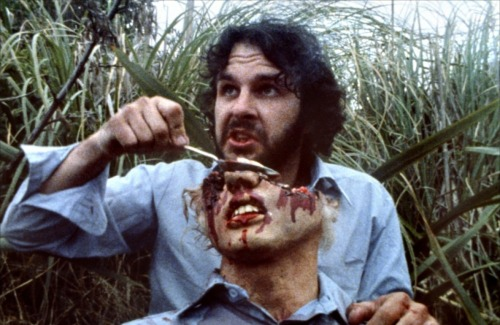Peter Jackson prepping a prop in Bad Taste.