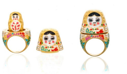 Noir Natasha Russian Doll Ring. Inspired by the traditional Matryoshka doll.