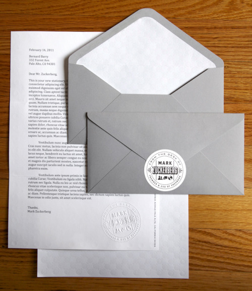 "Stationery from the desk of Facebook creator Mark Zukerberg by Ben Barry and in his words ""Mark gets a lot of mail thanking him from people with amazing personal stories made possible because of Facebook. We wanted to make something a little more personal and special for him to respond."" Basically if I owned Facebook, i'd have kick ass stationery designed like this!"