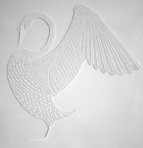ppomme:  This is a beautiful and intricate paper cutout by Michael Lomax. via Paper Cut Swan