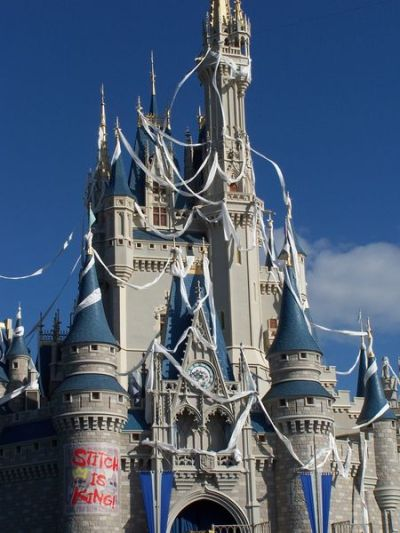 When Stitch took over Cinderella's castle at Disney World