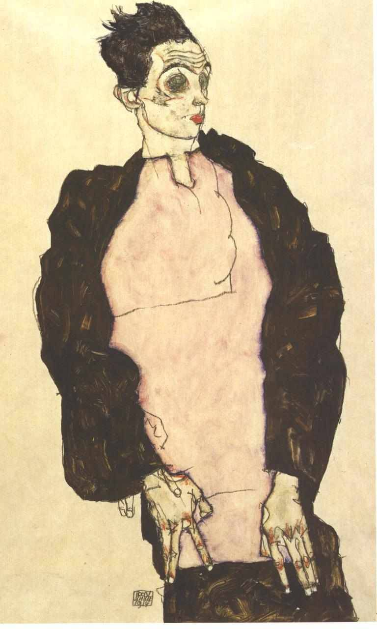 Self Portrait with Violet Shirt, by Austrian painter Egon Schiele, born June 12, 1890.