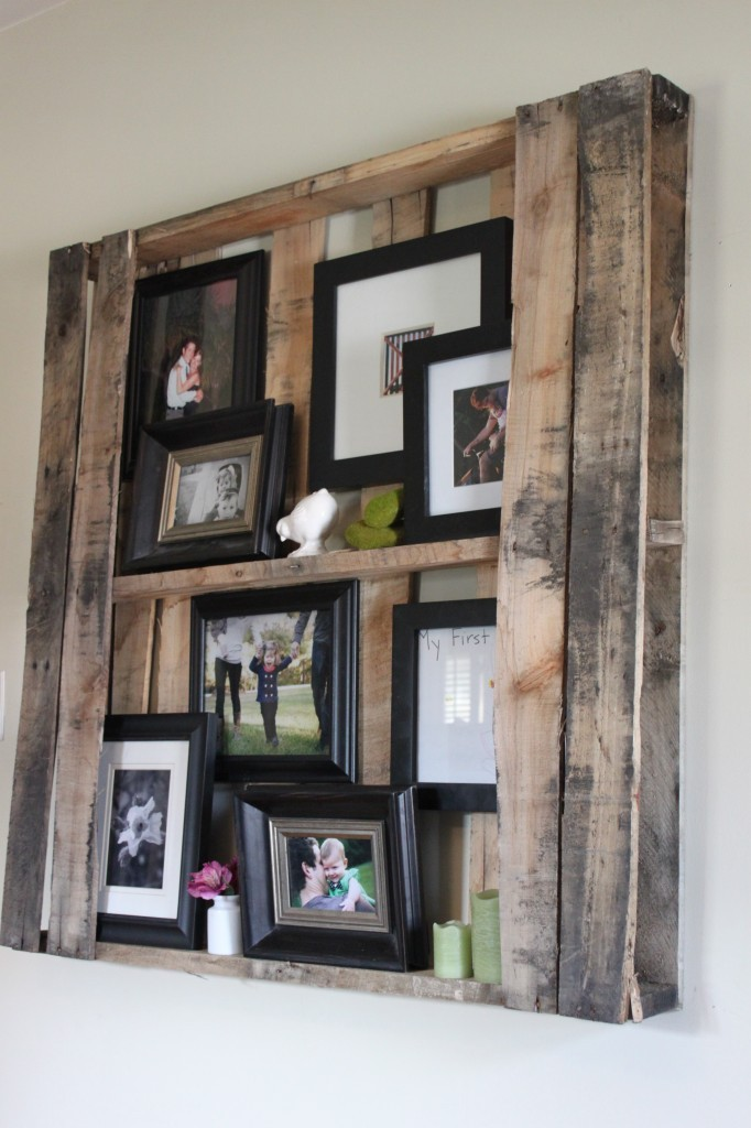 DIY Crate Pallet Shelf What a great way to use an old crate pallet.  I'm sure you can go to any hardware store and ask for one that is just laying around.
