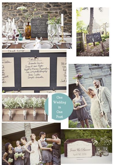 This wedding was found on Southern Weddings.  The colors used are great, I like how muted everything is, and I love that she used lavender in her bouquet!  Although it was kept simple, it still has a wonderful rustic but elegant feel to it.  There is something about the hand written place cards too that I really like, there is such intimacy throughout the whole thing.
