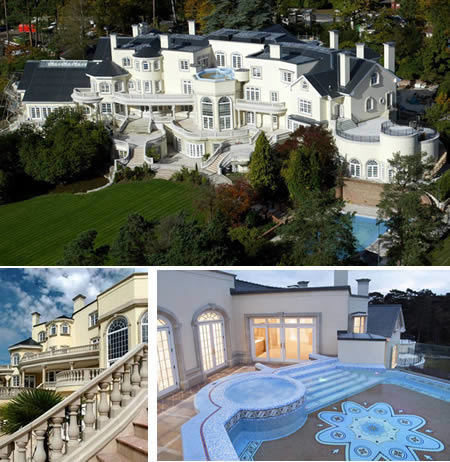 luxuryspy:  The house just outside of London boasts 103 rooms, five swimming pools and 24-carat-gold leafing on the  study's mosaic floor, a squash court, bowling alley, tennis  court, 50-seat screening room, heated marble driveway and helipad. Not to forget that 8  limousines will fit in the underground garage. For the price of £85million it could be yours.