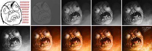 """Rage Guy (fffuuuu), Evolved"" - Process By Sam Spratt This is the progression for this: http://samspratt.tumblr.com/post/6458436333/rage-guy-fffuuuu-evolved-by-sam-spratt-i I submitted to peer pressure and made the ""real"" fffuuu guy much like I did with my other rage meme face.   If you like this illustration, do follow me on tumblr (I follow back almost every person that follows me for the sake of not missing out on potential inspiration), or for the latest, I run a mean facebook artist's page and a musing-filled twitter."