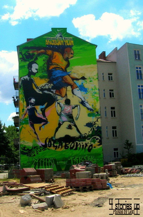 """Welcome to Berlin"" mural, Summer 2006. This mural is welcoming the Brazilian Team, which was on the way to the City for the FIFA World Cup game."