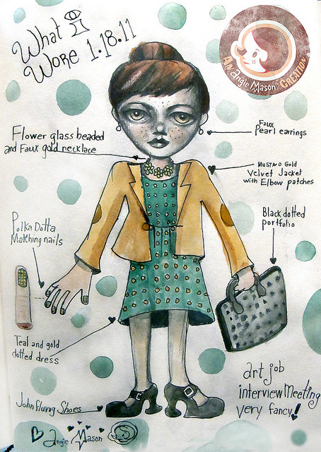 What I Wore - Jan. 18,2011 on Flickr. What I wore drawing series. Via Flickr: Totally late but totally cute ^__^www.angiemason.com/STORE