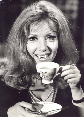 beautyandterrordance:  Ingrid Pitt enjoying a tea break, on the set of The Vampire Lovers.