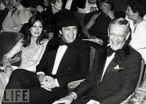 Anjelica Huston, Jack Nicholson and Fred Astaire at the Oscars, 1975,