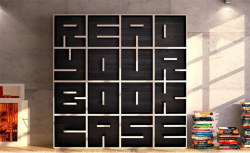 TYPE SPACE  bookshelfporn:  Read Your Book Case - Studio Saporiti has created alphabetical and numerical bookshelf casings, which allows customers to choose individual letters to spell words, phrases and dates.