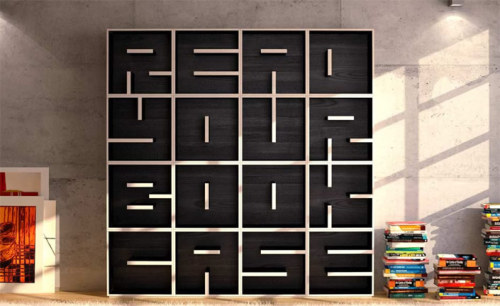 bookshelfporn:  Read Your Book Case - Studio Saporiti has created alphabetical and numerical bookshelf casings, which allows customers to choose individual letters to spell words, phrases and dates.