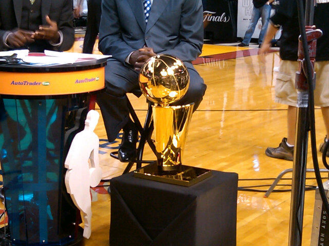 Somebody knows something: The Larry O'Brien Trophy is on the premises (via AJ Adande on twitter). // Like NBAmmkay on Facebook