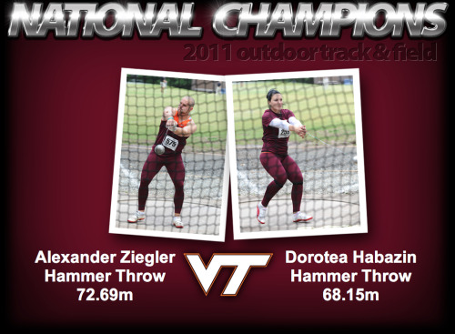 The totals for the weekend include two individual NCAA Champions, with Alexander Ziegler and Dorotea Habazin sweeping the men's and women's hammer throws as the ninth and tenth NCAA Champions in Virginia Tech history. Twelve Hokies were named All-American, nine first team and three second team, with four finishing in the top three in their respective event.  Congratulations to Alexander and Dorotea on win NCAA titles! And congratulations to the men's track and field team on its fifth place finish at the NCAA championships! Go Hokies!