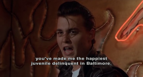 """You've made me the happiest juvenile delinquent in Baltimore."" Cry-Baby (1990) directed by John Waters.  Starring Johnny Depp, Amy Locane, Iggy Pop, Traci Lords, Ricki Lake, Kim  McGuire, David Nelson, Susan Tyrrell and Patty Hearst."