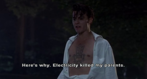"""Here's why. Electricity killed my parents."" Cry-Baby (1990) directed by John  Waters. Starring Johnny Depp, Amy Locane, Iggy Pop, Traci Lords, Ricki  Lake, Kim McGuire, David Nelson, Susan Tyrrell and Patty Hearst."