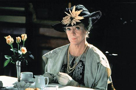 Maggie Smith with tea.