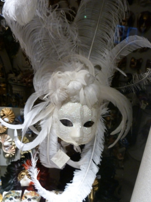 Venetian Mask. This one is super elaborate and, if I remember correctly, cost several hundred euros. The masks are made and decorated by hand and go from about 10 euros up. And they are all beautiful. Its a centuries old tradition of making a wearing mask, they are generally worn during Carnival (Mardi Gras) and were made to hide who the wearer was so they could act freely. Some only cover the eyes while some cover the entire face. Now they are more touristy but they are still steeped in tradition and are extremely high quality and made by artist who dedicate their lives to the craft.