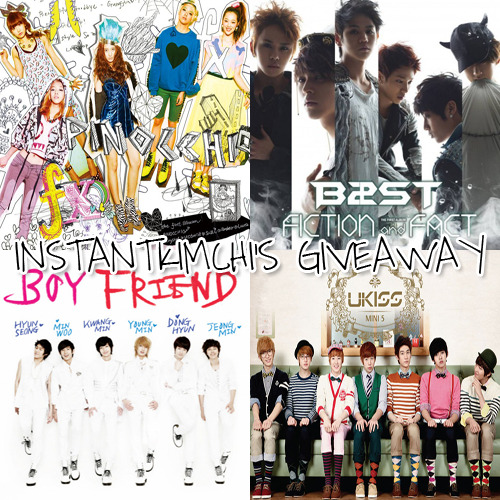 instantkimchi:  My third giveaway ^^  I'm giving away  f(x)'s Pinocchio B2st's Fiction and Fact U-KISS's Bran New Kiss Boyfriend's Boyfriend Rules You must be following InstantKimchi. To enter this giveaway, you need to reblog this post. You can reblog as much as you want. Each reblog count as one entry. So the more reblog, the more of a chance for you to win. Likes will do nothing. Tips  There will be four winners. The first winner gets to pick any album s/he likes, the second winner gets to pick the remaining three, the third winner gets to pick the remaining two, and the last winner gets to keep the last album. This event is going to end on September 7th, 2011.  I can ship these albums internationally. I will use random.org to choose the winner.  Good luck.