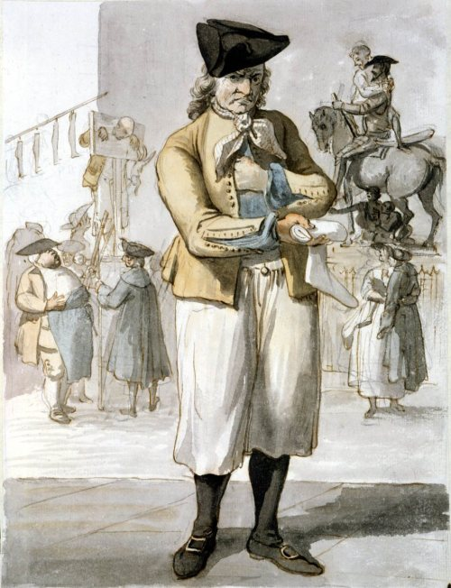 missfolly:  Sock Vendor, by Paul Sandby, ca. 1759