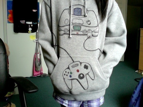 N64 hoodie = Swag. [Spotted on That Girl's Site via grandmafucker]