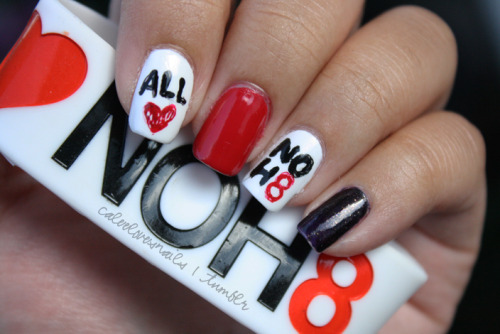 """All love, no hate.""A couple days ago, Vicky suggested that I do NOH8 nails for the LA Pride Festival which we attended in WeHo yesterday. The kids & I were able to take a picture at the NOH8 Campaign booth, something I've been wanting to do since they first began. Unfortunately my boyfriend Mark had work so we couldn't take a complete family picture, but the photoshoots often come around to LA so there's always next time. I got a couple compliments on the nails, even from NOH8's photographer Adam Bouska :) I love his work! But I think the ones who were catching everyone's attention were the kids with their NOH8 temporary tattoos on their cheeks! :P I loved that we were able to go & show our support. Like I wrote on my personal blog, marriage should not be defined by race, religion, social status, gender, etc. Love is love & marriage should be equal. If any of you guys are interested, you can check out the NOH8 website for more info on the campaign: http://www.noh8campaign.com/ Colors used: OPI - Alpine Snow OPI - OPI Red OPI - DS Mystery"