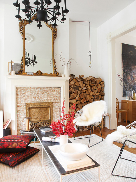 Bertoias with sheepskins and ikat floor pillows filed under: home inspiration