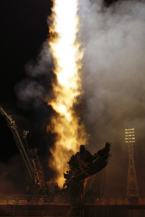 Expedition 28 Launch (201106080008HQ) (explored) The Soyuz TMA-02M spacecraft launches from the Baikonur Cosmodrome in Kazakhstan early Wednesday, June 8, 2011 carrying Expedition 28 Soyuz Commander Sergei Volkov of Russia, NASA Flight Engineer Mike Fossum and JAXA (Japan Aerospace Exploration Agency) Flight Engineer Satoshi Furukawa to the International Space Station. Photo Credit: (NASA/Carla Cioffi)