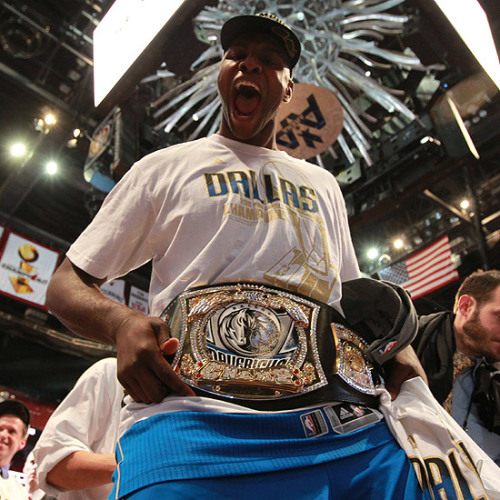 simplybasketball:  Brendan Haywood with his new NBA Championship Belt.