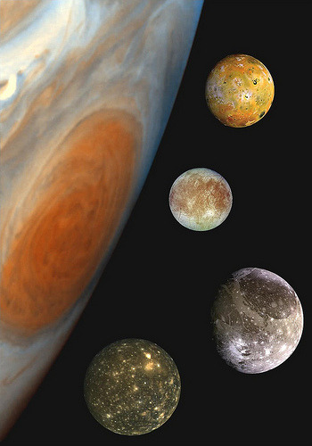 Jupiter's Great Red Spot and the four Galilean satellites (by Cornell SPIF)