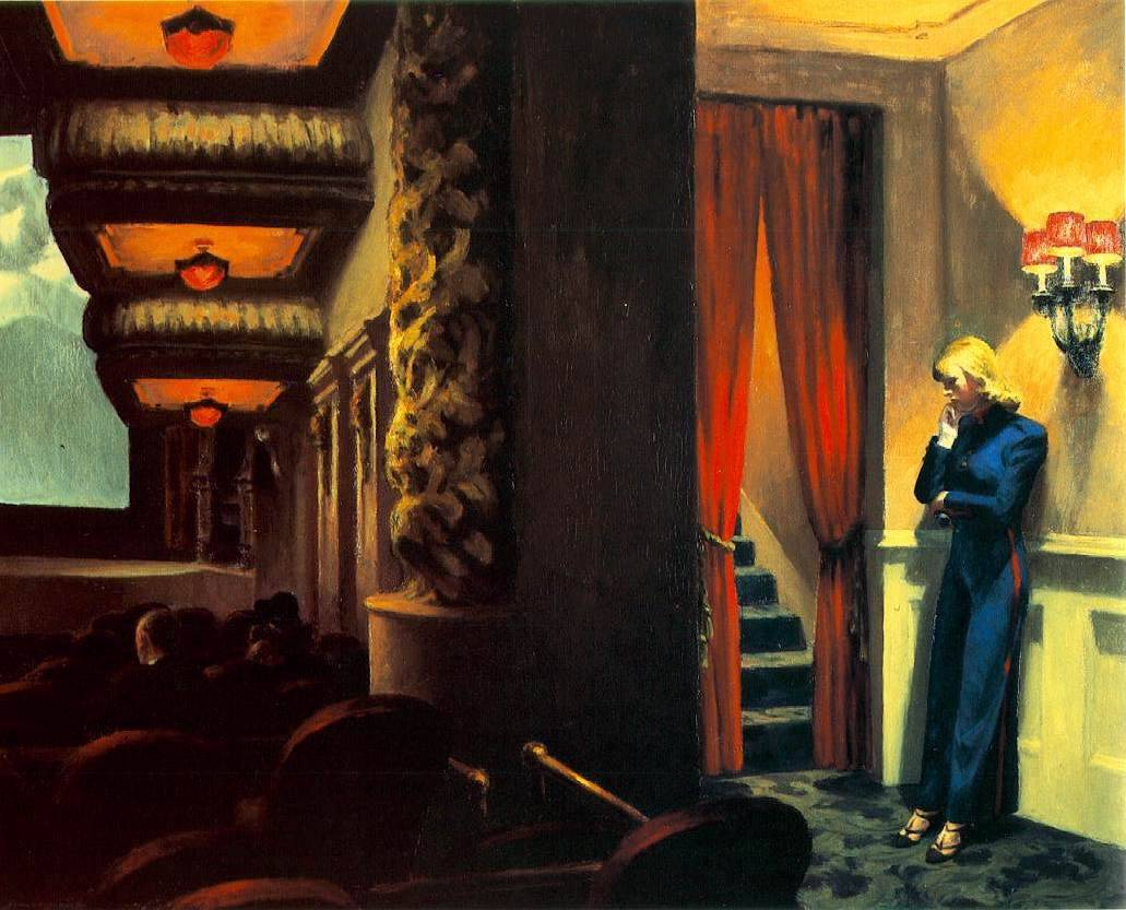 "An all time favorite of ours….""New York Movie"" - Edward Hopper (American, 1882-1967) - 1939. Oil on canvas, 32 1/4 x 40 1/8"" (81.9 x 101.9 cm). Given anonymously"