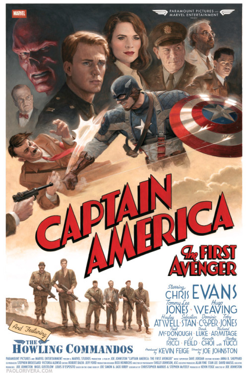 New retro Captain America poster arrives online A new retro Captain America poster has popped up over the weekend, featuring a WWII propaganda-style shot of Cap punching Hitler in the face. Designed by comic-book artist Paulo Rivera, the artwork is hand-drawn - like the posters for Super 8 and The Three Musketeers we brought you last week - and is really awesome!