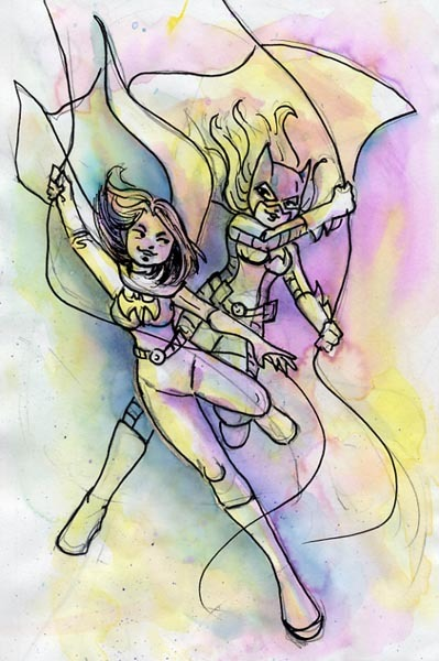 katiecrenshaw:  Cassandra Cain and Stephanie Brown for @dramedy  Love the watercolor look!