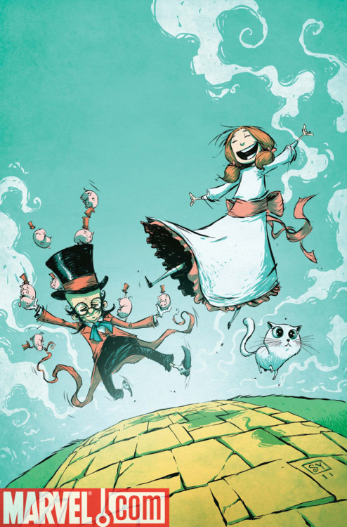 DOROTHY & THE WIZARD IN OZ #1 cover by Skottie Young. Look at that cat. LOOK AT IT. So cute. Oh yeah, it's on sale in September.